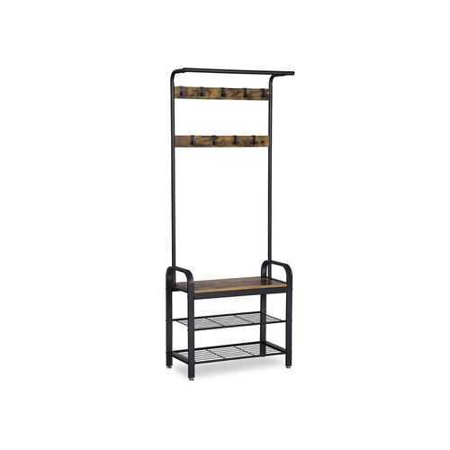 Industrial Coat Rack with Bench for Entryway