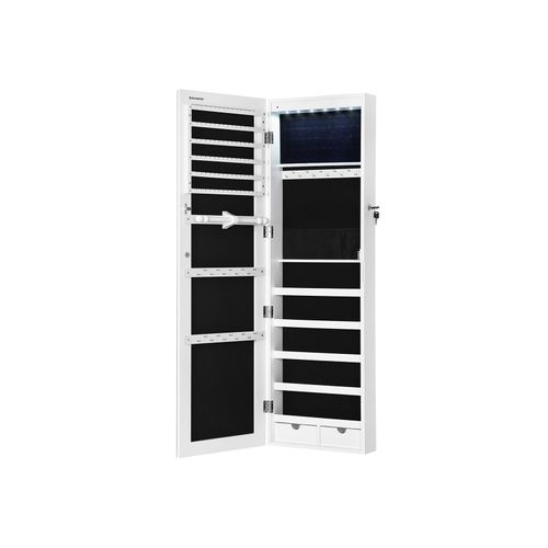 White Wall Mounted Jewelry Armoire, Mirrored Jewellery Cabinet Wall Mounted