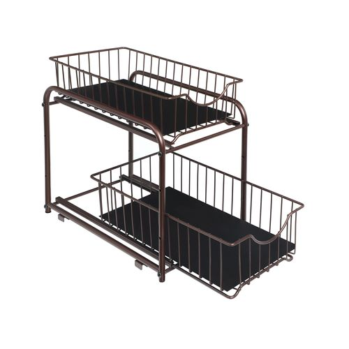 2-Tier Pull Out Cabinet Organizer with Storage Basket