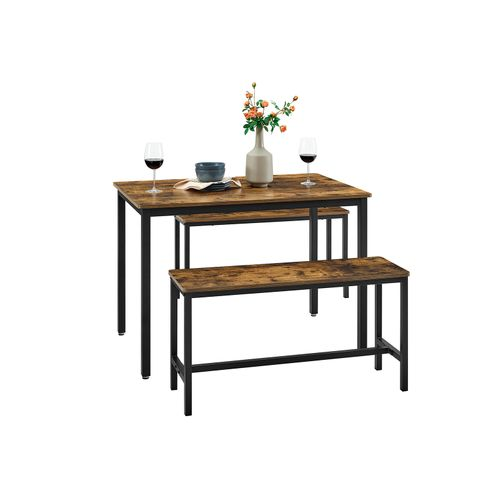 Vasagle Alinru Dining Table With 2 Benches 3 Pieces Set Kitchen Table Of 39 4 X 27 6 X 29 5 Inches Bench Of 38 2 X 11 8 X 19 7 Inches Each Industrial Design Rustic Brown And Black Ukdt070b01