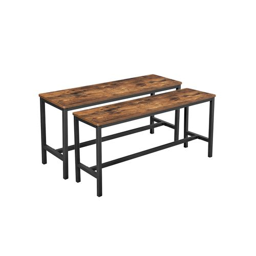 Set of 2 Dining Table Benches Rustic Brown