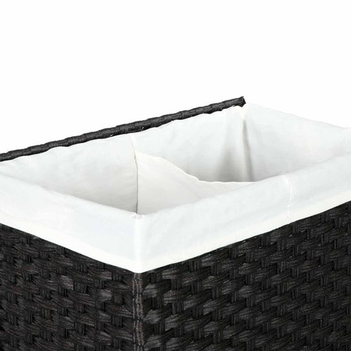 Foldable Removable Liner Bag Synthetic Rattan Divided Clothes Hamper with Lid and Handles SONGMICS Handwoven Laundry Basket Black ULCB52BK