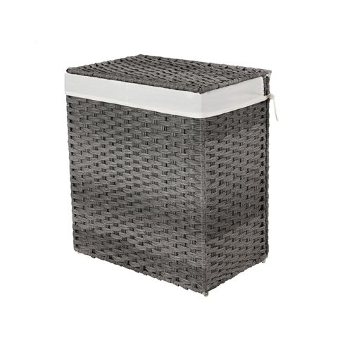 Gray Laundry Hamper with Divider & Lid