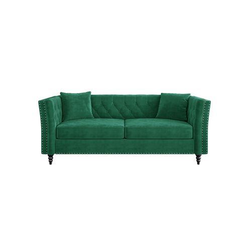 Chesterfield Velvet Couch Emerald