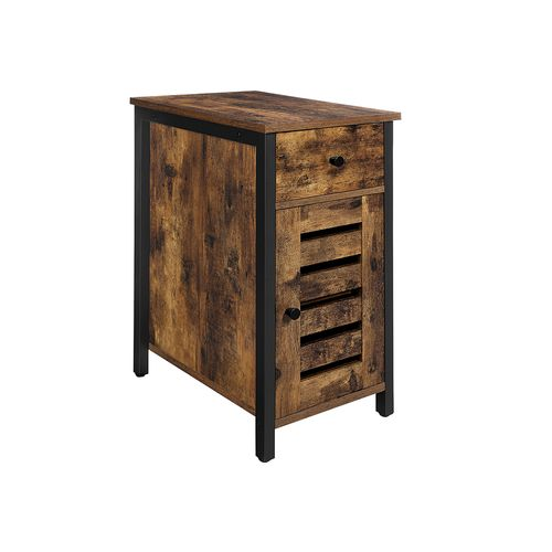 Industrial Narrow Side Table with Cabinet