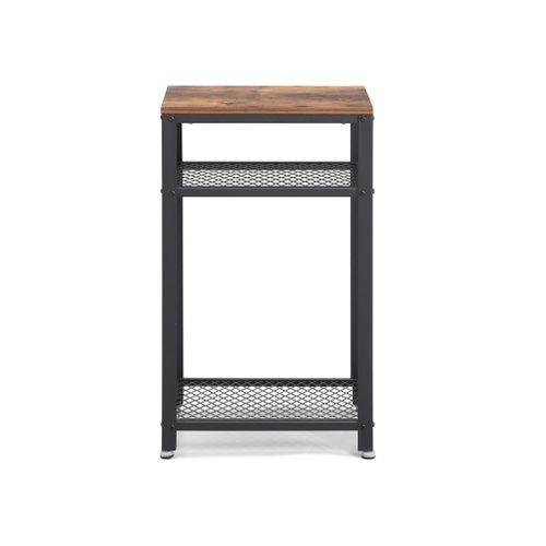 2 Shelves Industrial Side Table Rustic Brown