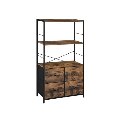 Rustic Brown Storage Cabinet with Shelves & Drawers