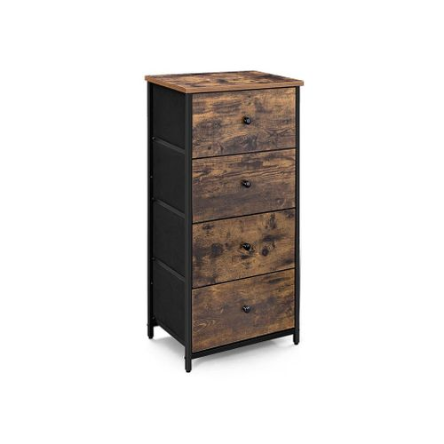 Brown & Black Vertical Dresser Tower with 4 Drawers