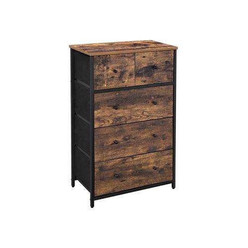 Rustic Brown 5 Fabric Drawers Dresser