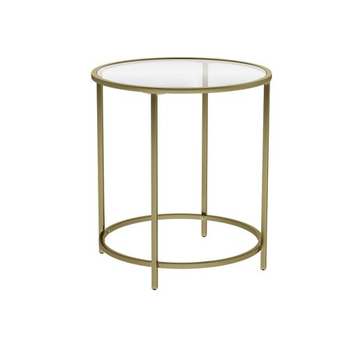 Golden Glass Round Side Table with Metal Frame