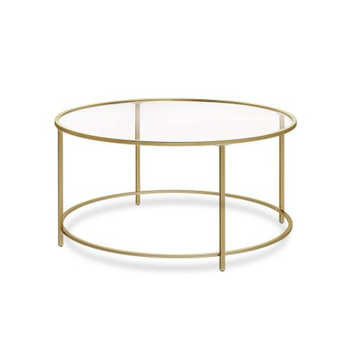 Round Glass Coffee Table Golden