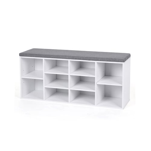 White Shoe Bench Storage Cabinet with Cushion