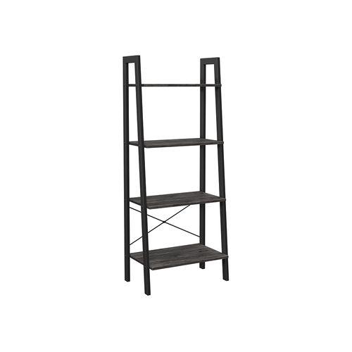 Charcoal Gray & Black 4-Tier Ladder Bookshelf