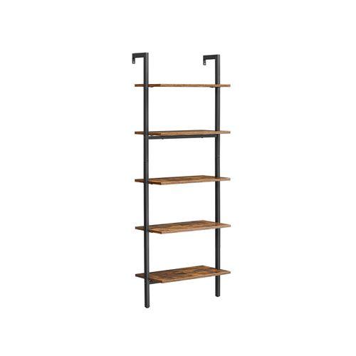 Industrial Brown Wall-Mounted Ladder Shelf