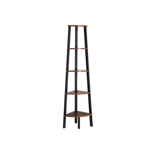Rustic Brown Industrial 5-tier Floor Standing Corner Shelf
