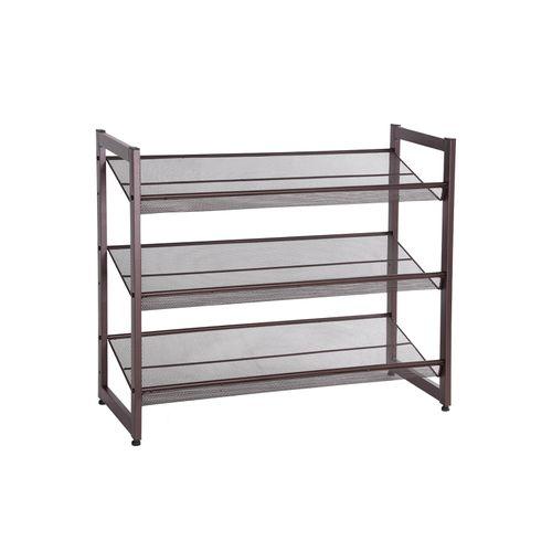 Bronze Metal Shoe Rack with Adjustable Shelves