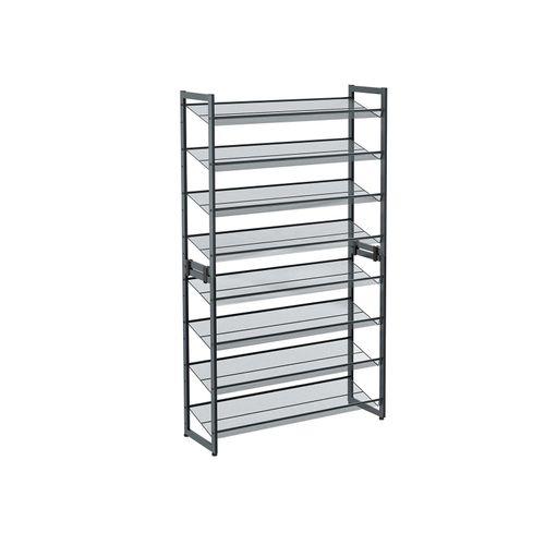 Set of 2 Gray Shoe Rack with Adjustable Shelves