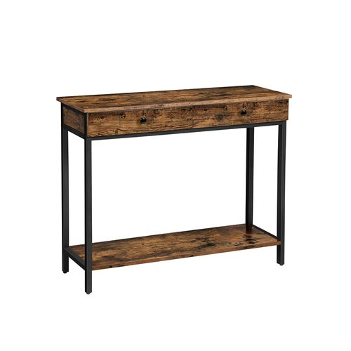 Rustic Brown & Black Industrial Console Table with 2 Drawers
