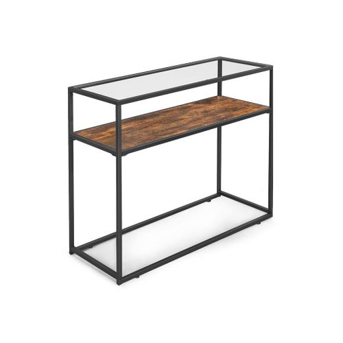 Industrial Glass Top Console Table