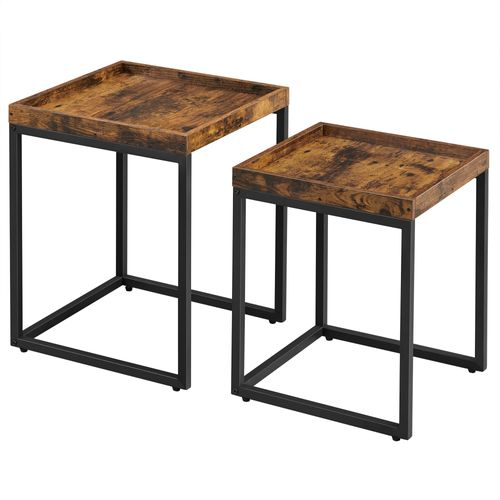 Industrial Nesting Tables Rustic Brown and Black