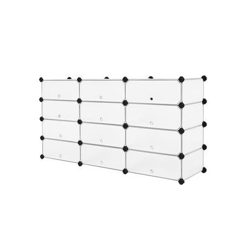 Black ULPC026B02 SONGMICS 12-Compartment Shoe Rack Plastic Shoe Unit Organizer with Doors Modular Rectangular Cube Storage for 24 Pairs 32.7 x 12.2 x 41.3 Inches for Entryway Hallway Closet