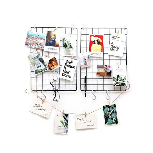 Display Photo Wall 1 Pack Hanging BasketIns LOMOFI 2 Pack Grid Photo Wall for Photo Hanging Display,Multi-Function Wall Storage and Display Basket