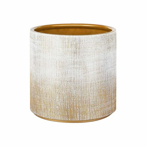 Ceramic Plant Pot Brushed White and Gold