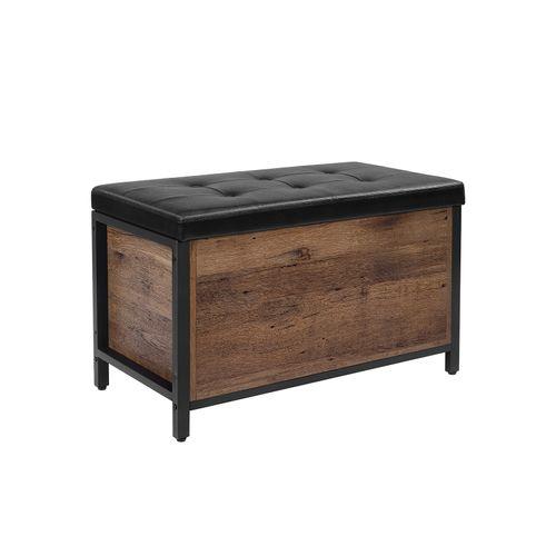 Hazelnut Brown Storage Bench with Cushion