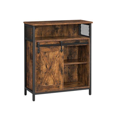 Storage Sideboard with Barn Door Rustic Brown Black