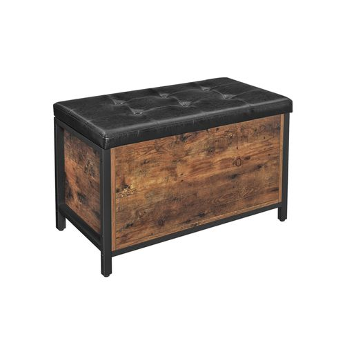 Industrial Rustic Brown Storage Ottoman with Flip Lid