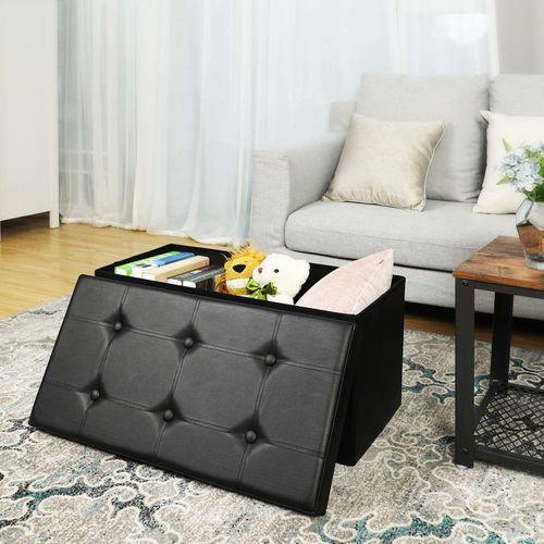 Black Faux Leather Storage Ottoman Bench Home Storage Songmics