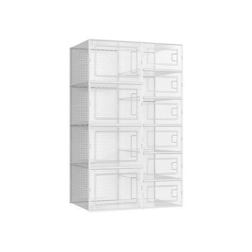 Set of 10 Transparent Shoe Boxes with Door