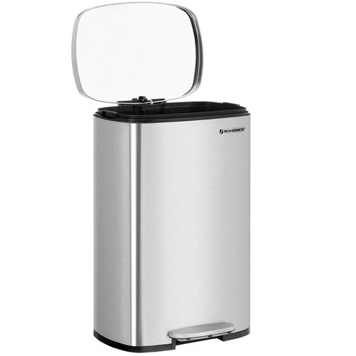 Sliver Steel Step-Open Trash Can with Lid