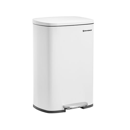 White Step Trash Can with Hinged Lid for Kitchen