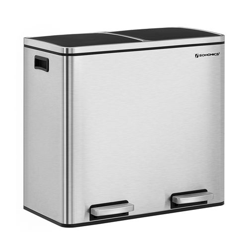 Silver Dual Trash Can with Lid & Handles