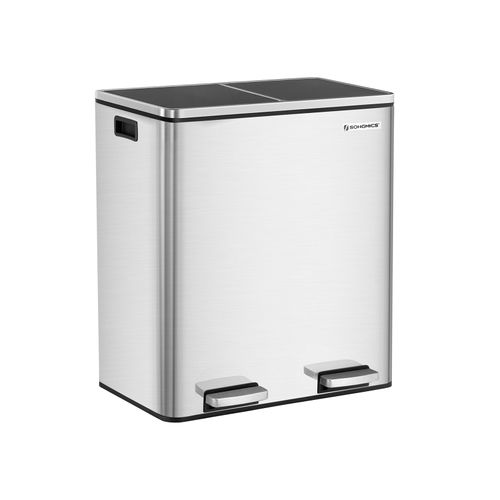 Silver Stainless Steel 16 Gallon Trash Can