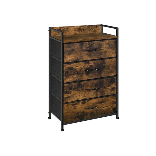 Brown & Black Dresser with 4 Fabric Drawers