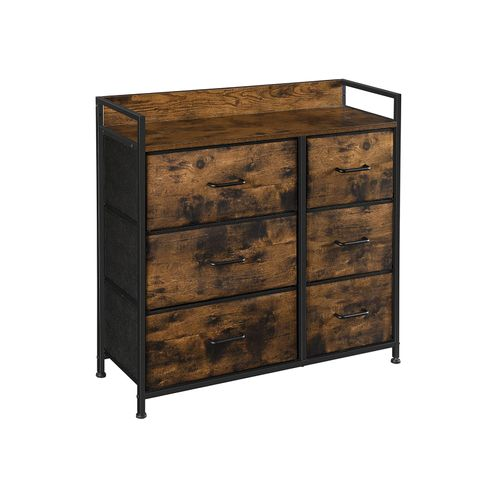 Brown & Black Closet Dresser with 6 Fabric Drawers