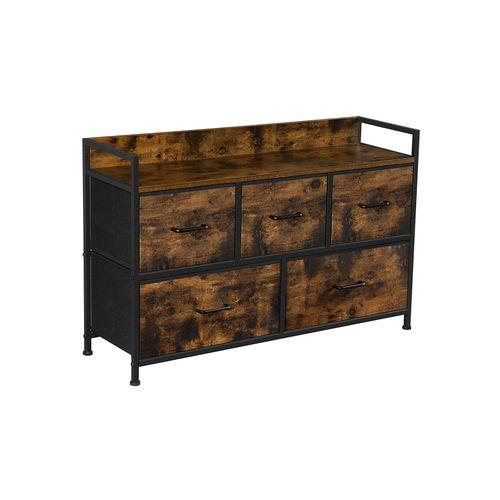 Rustic Brown & Black Wide Closet Storage Dresser