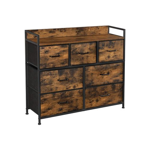 Brown & Black Closet Dresser with 7 Fabric Drawers