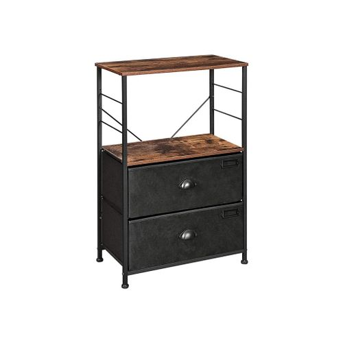 Black & Brown Nightstand with 2 Fabric Drawers