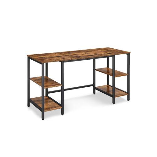 Industrial Brown & Black Computer Desk with 4 Shelves