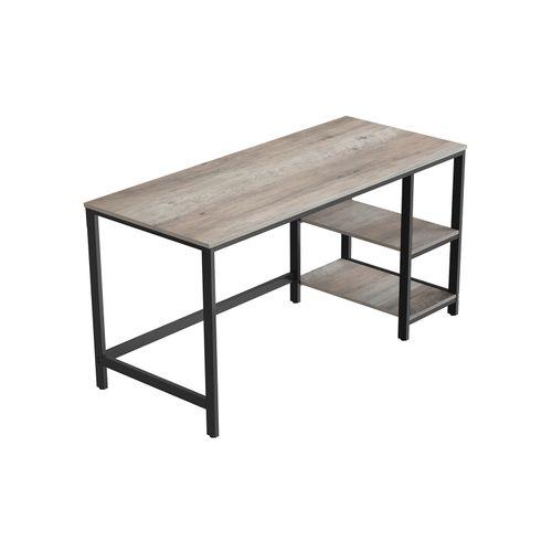 55-Inch Greige & Black Writing Desk with Shelves