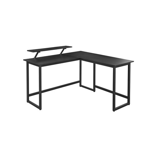 Black L-Shaped Writing Desk with Monitor Riser