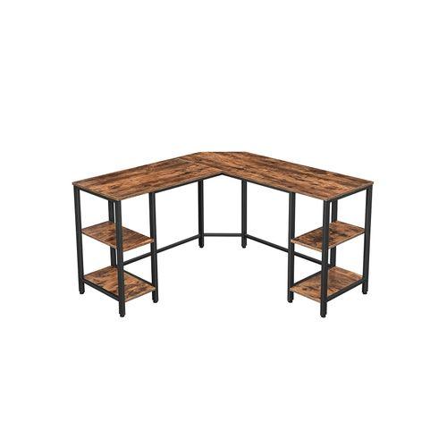 Rustic Brown & Black Industrial 4 Shelves Computer Desk