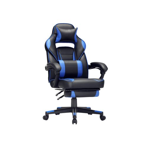 Black & Blue Racing Gaming Chair with Footrest