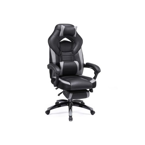 Black & Gray Office Chair with Footrest