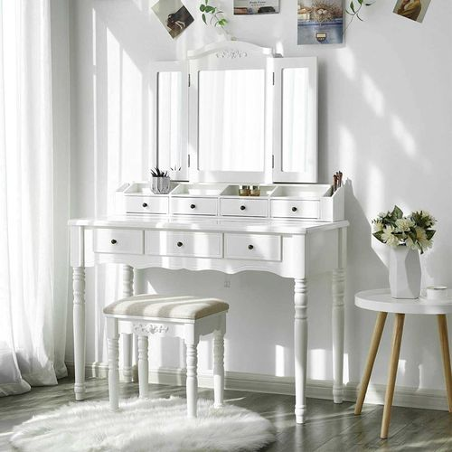 White Makeup Vanity Set With Folded Mirror Home Furniture Vasagle By Songmics