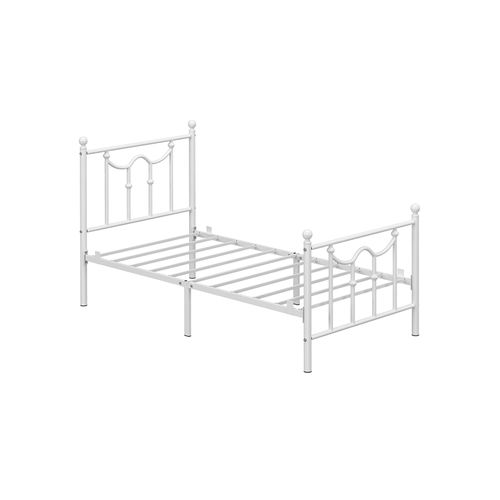 Twin Size Metal Bed Frame with Headboard White