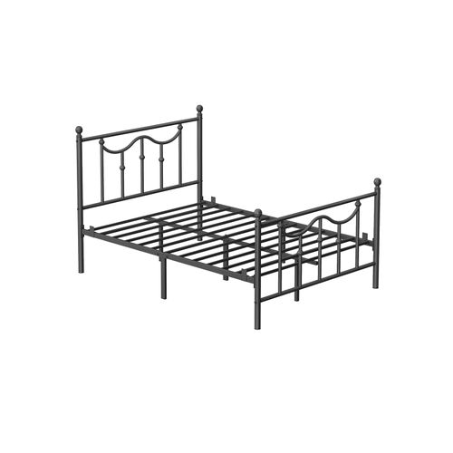 Full Size Metal Bed Frame with Headboard Black